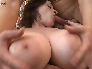 Busty big beautiful mature mom takes young cock