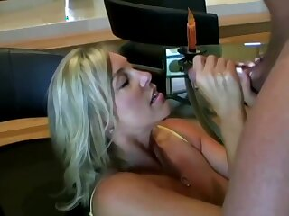 Lusty ash-blonde mom with hefty boobies is inhaling lollipop while getting on all fours on the floor and getting screwed