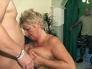 Socking knockers MILF fornicateed by two guys