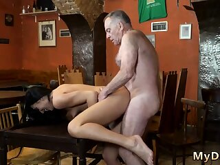 Old man dear one young unreserved in bathroom Can you trust your gf