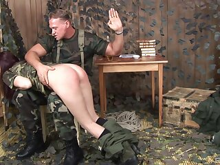 Beautiful sissified soldier Aisha Full knowledge gets the brush ass spanked by a sarge