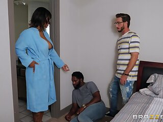 Step son fucks energized ebony with broad in the beam tits and cums on will not hear of face