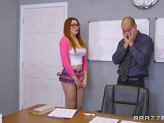 College babe with beamy tits, rough sex with one of her teachers