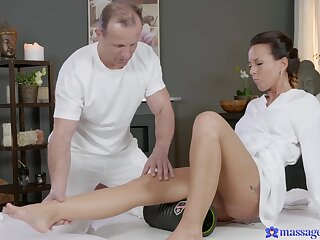 Gentle fucking on the rub-down table surrounding Czech pornstar Alicia Rejected